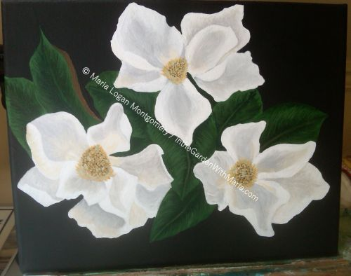 Magnolia Painting unsigned - mlm c@